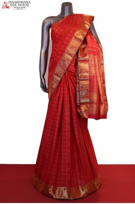 Bridal Red Zari Checks Zari Butta Kanjeevaram Silk Saree