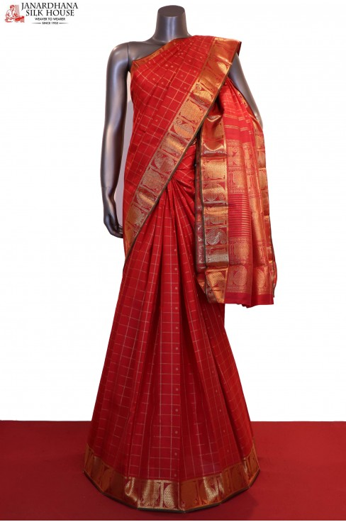 AD209593-Bridal Red Zari Checks Zari Butta Kanjeevaram Silk Saree