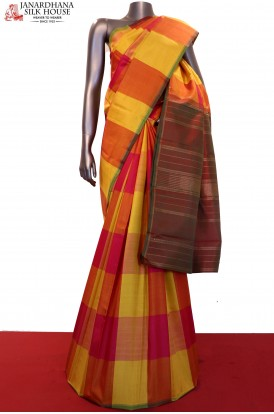 Colorful Checks & Contrast Kanjeevaram Silk Saree
