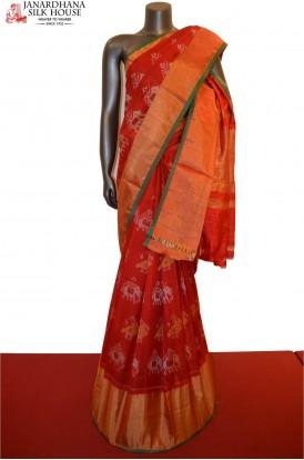 Designer Kora Ikat Classic Patola Silk Saree