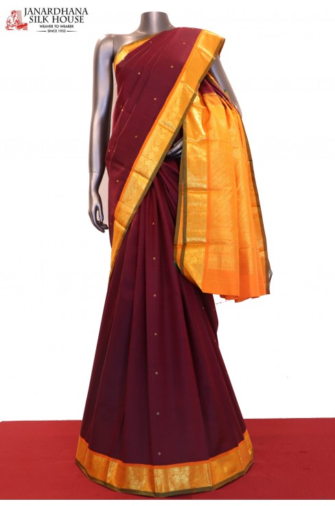 Zari Butta Contrast Classic Wedding Kanjeevaram Silk Saree