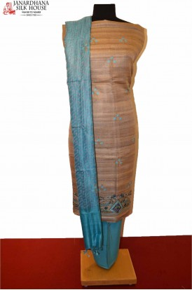 Exclusive Unstitched Pure Tussar Silk Suit