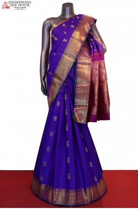 Zari Butta & Contrast Wedding Handloom Kanjeevaram Silk Saree