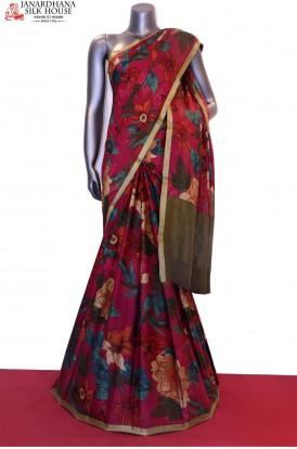 AE202103-Exclusive Floral Prints Pure Crepe Silk Saree