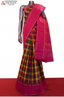 Checks Kanjivaram Silk Saree