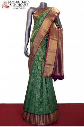 Exquisite Floral & Jungle Zari Weave Grand Bridal Kanjeevaram Silk Saree