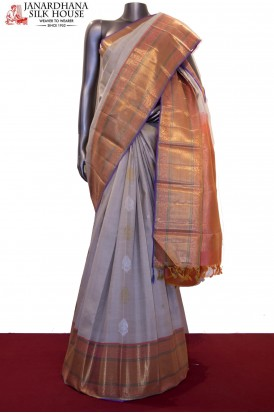 AE203693-Exclusive Gold & Silver Zari Butta Grand Wedding Kanjeevaram Silk Saree