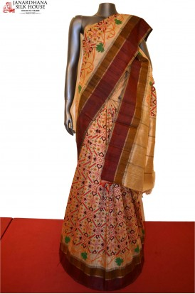 AE203938-Ikat Exclusive Pure Tussar Silk Saree