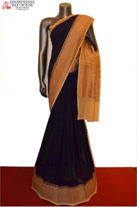 AE204154-Classic Contrast Grand Banarasi Georgette Silk Saree