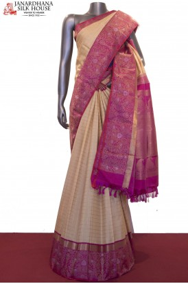 Zari Checks & Designer Wedding Kanjeevaram Silk Saree
