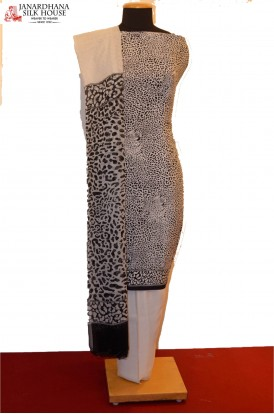 Black & White Cheetah Prints Heavy Pure Crepe Silk Suit