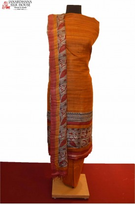 Exclusive Printed Pure Tussar Silk Suit