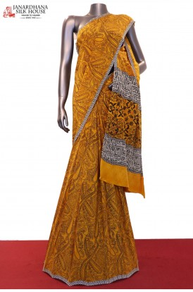 Exclusive Paisley Prints Pure Crepe Silk Saree