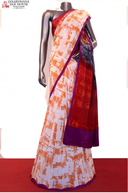 Exclusive Abstract Prints Pure Crepe Silk Saree