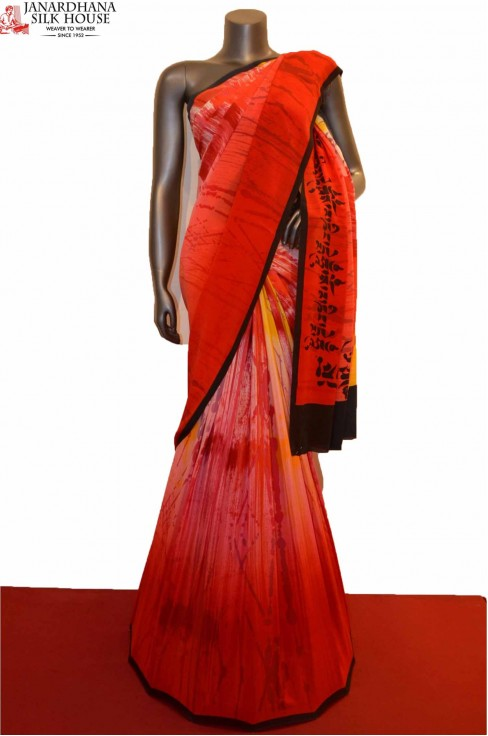 AE207506-Abstract Disgner Pure Crepe Silk Saree