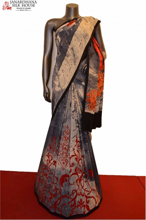 AE207518-Abstract Disgner Pure Crepe Silk Saree
