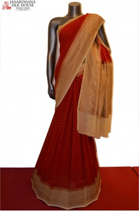 Exclusive & Grand Zari Butta Banarasi Georgette Silk Saree