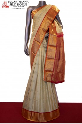 Contemporary Meenakari Gold Zari Wedding  Kanjeevaram Silk Saree