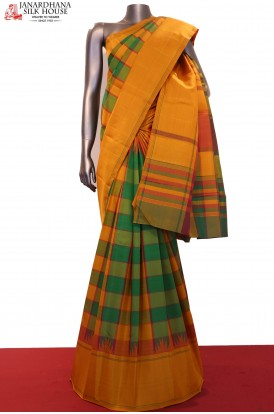 Checks & Temple Kanjeevaram Silk Saree