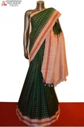 Checks & Temple Thread Weave Handloom Kanjveeram Silk Saree