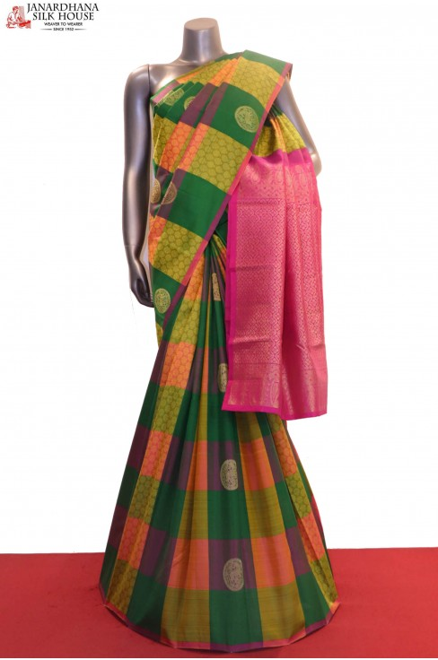 Checks & Chakram Zari Butta Wedding Kanjeevaram Silk Saree