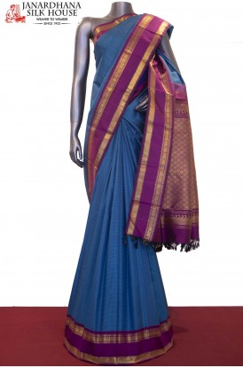 Checks Classic & Contrast Kanjeevaram Silk Saree