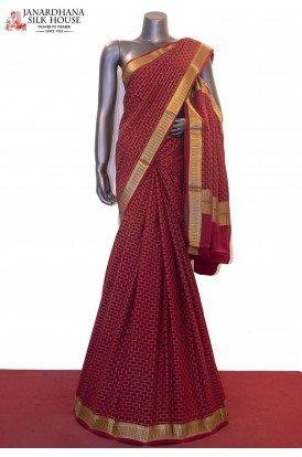 AE211021 -Traditional & Brick Zari Checks Weave Pure Mysore Crepe Silk Saree