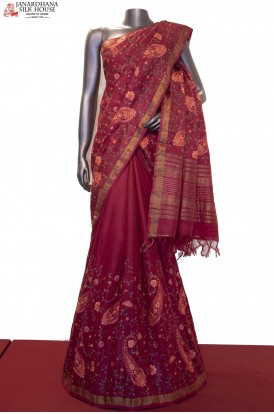 Designer & Exclusive Colorful Thread Embroidery Tussar Silk Saree
