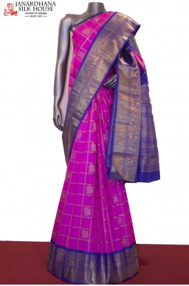 Exquisite Zari Checks Zari Butta Pink & Blue Wedding Kanjeevaram