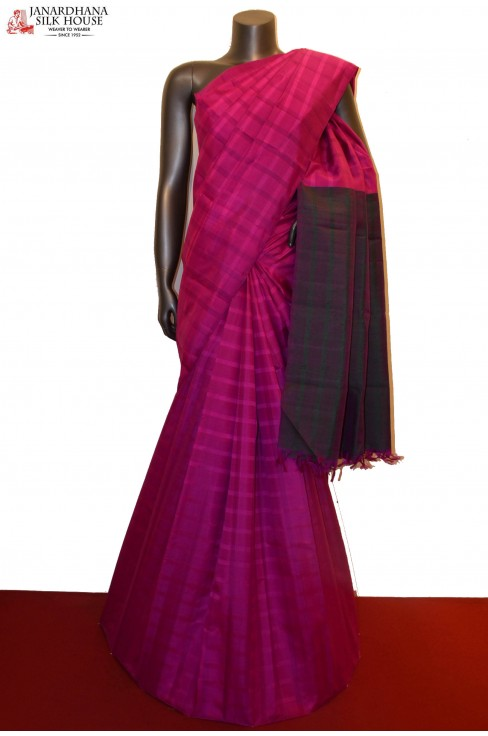 Checks & Classic Thread Weave Handloom Kanjeevaram Silk Saree