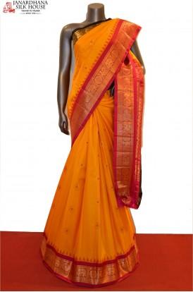 Traditional & Classic Ganga Jamuna Handloom Pure Gadwal Silk Saree