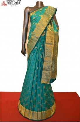 Traditional Zari Checks Zari Butta Pure South Silk Saree