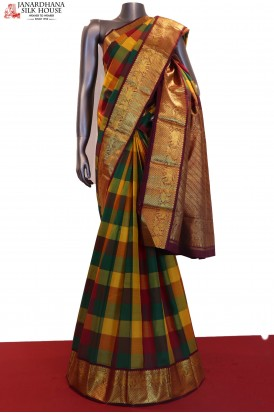 Classic Checks & Grand Wedding Kanjeevaram Silk Saree