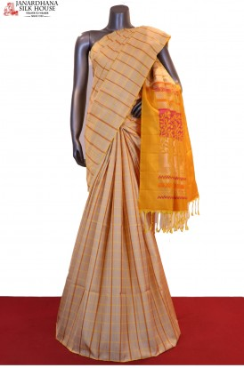 Exclusive & Special Checks Hand Woven Pure Soft Silk Saree