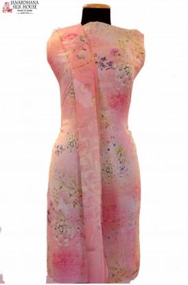 Designer Italian Crepe Silk Suit. Top & Dupatta