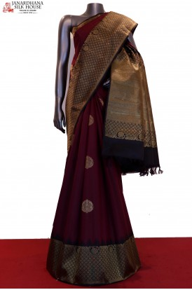 Maroon & Black Contrast Grand Temple Kanjeevaram Silk Saree