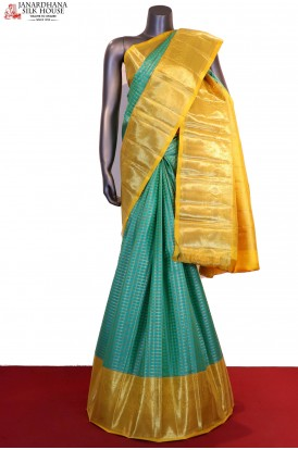 Exclusive Bridal Zari Checks Contrast Kanjeevaram Silk Saree