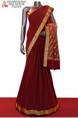 Traditional & Classic Zari Weave Pure Mysore Crepe Silk Saree