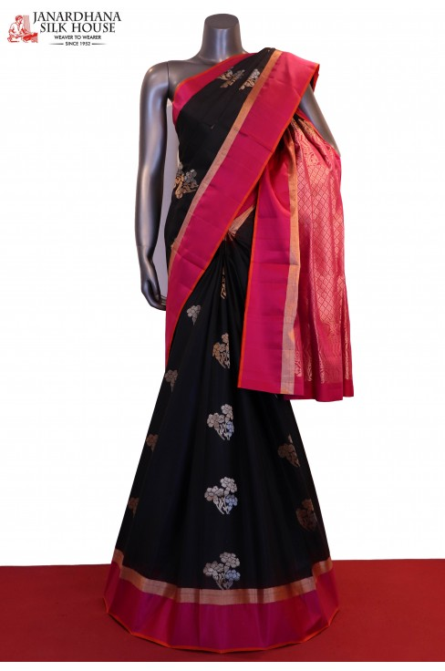 Gorgeous Black Designer & Exclusive Handloom Pure Soft Silk Saree
