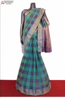 Exclusive & Classic Checks Weave Pure Silk Cotton Saree