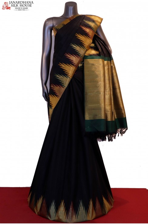 Grand & Exclusive Contrast Temple Handloom Kanjeevaram Silk Saree