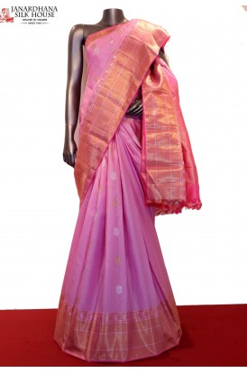 Exclusive Zari Checks & Gold Silver Wedding Kanjeevaram Silk Saree