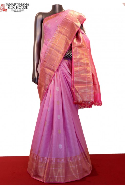 AF202395-Exclusive Zari Checks & Gold Silver Wedding Kanjeevaram Silk Saree