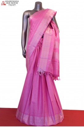 AF202419-Silver Checks & Veldhari Designer & Exclusive Kanjeevaram Silk Saree