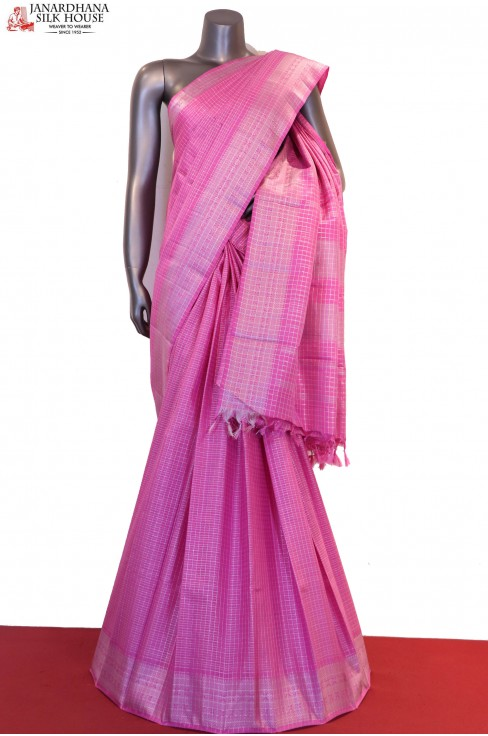 Silver Checks & Veldhari Designer & Exclusive Kanjeevaram Silk Saree
