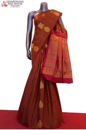 Checks & Zari Buttas Kanjeevaram Silk Saree