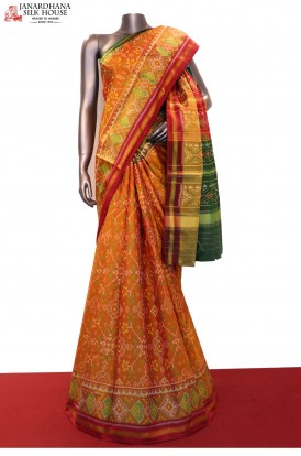 Exquisite & Classic Handloom Pure Ikat Patola Silk Saree