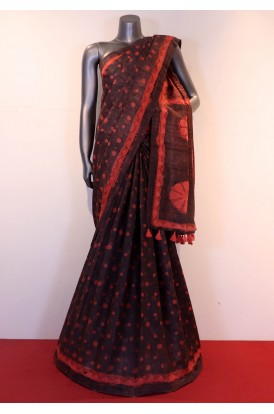 Exquiste Dabu Block Print Pure Tussar Silk Saree