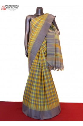 Temple & Checks Handloom Kanjeevaram Silk Saree