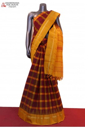 Traditional Chceks & Temple Handloom Kanjeevaram Silk Saree
